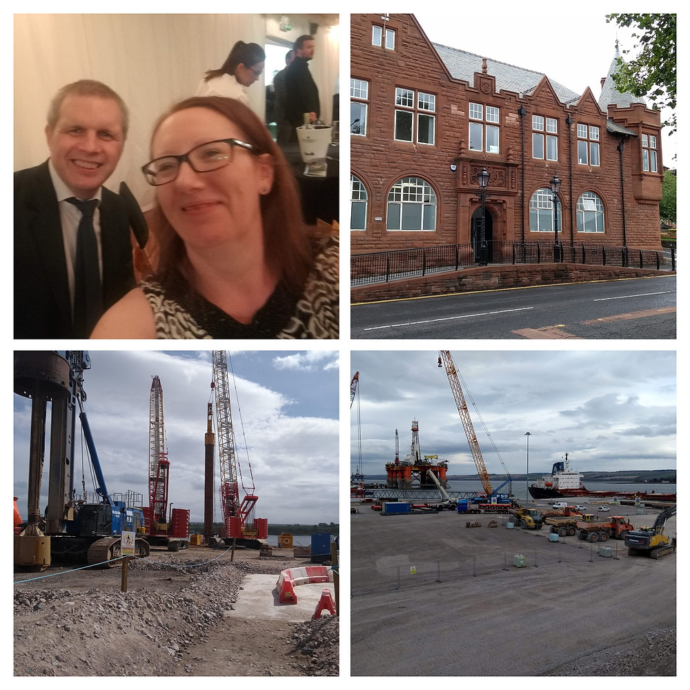 Alison and Gary at the Inverclyde Chamber awards dinner, Gourock Municipal Buildings, Development platforms and berths at Invergordon Service Base