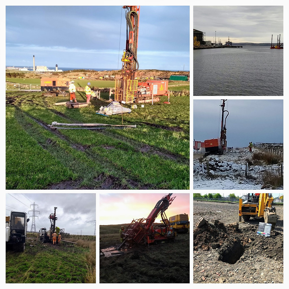 Varoius land and marine ground investigation techniques including rotary drilling, shell and auger drilling, directional drilling, directional drilling and trial pitting.