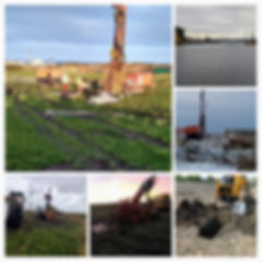 Photo montage of ground investigation techniques, rotary drilling, shell and auger drilling, trial pitting, directional drilling.