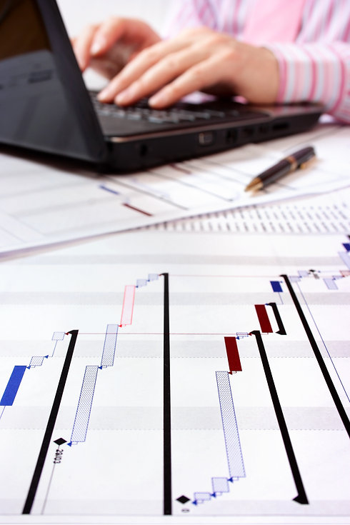 Gantt chart with project manager working