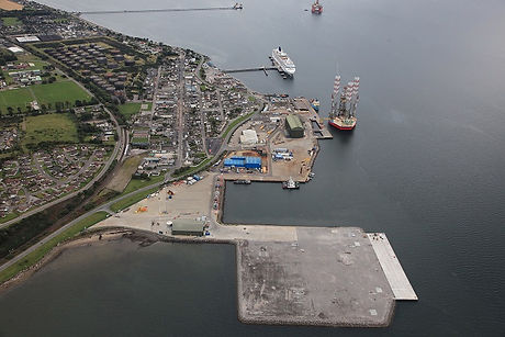 Aerial view of the Port of Cromarty Firth Phase 3 development
