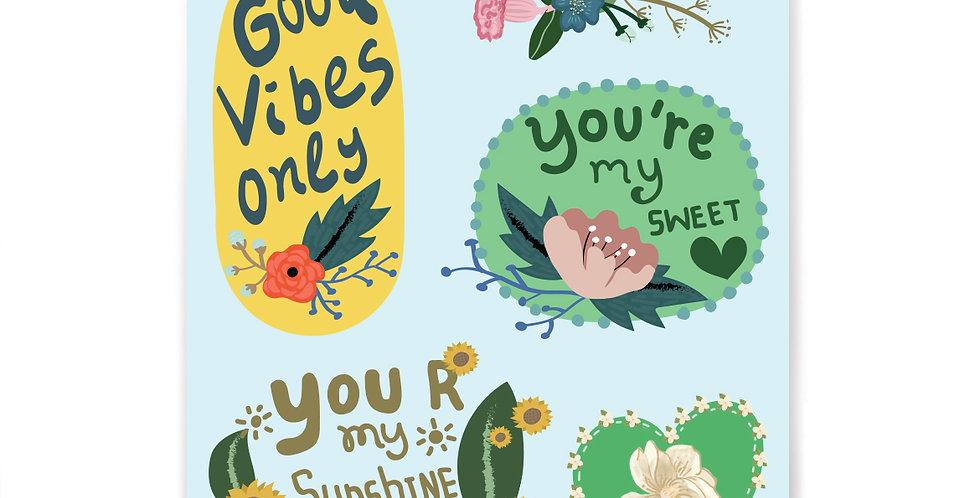 Flowery Stickers Set