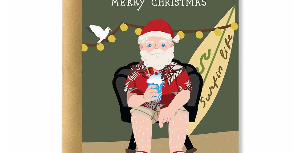 Santa On The Beach Greeting Card