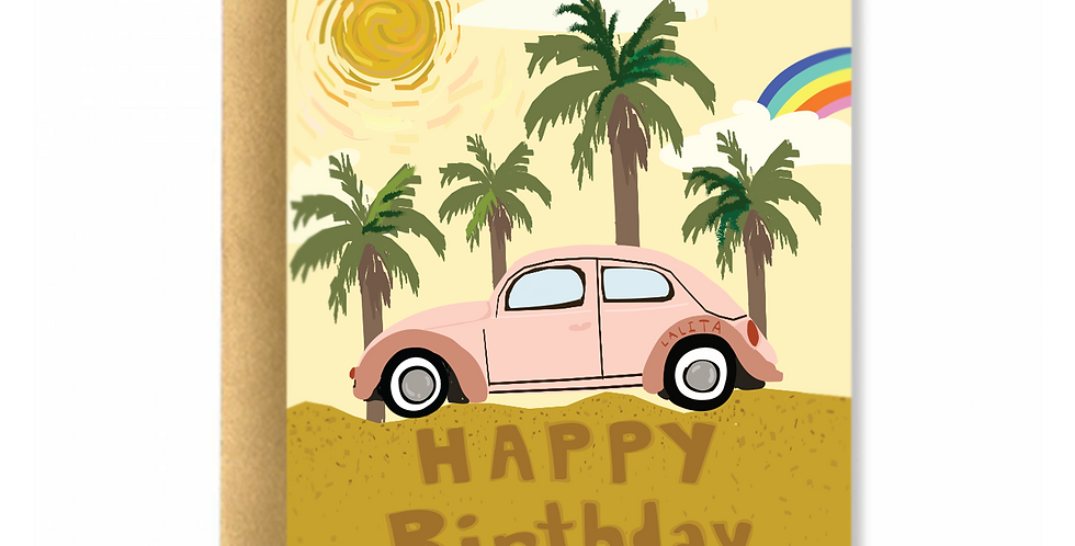 Summer With My Beetle Greeting Card