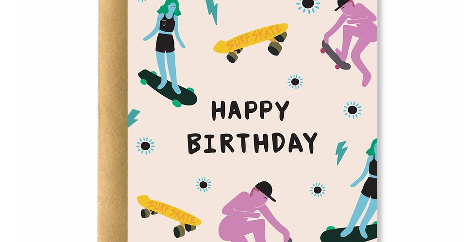 Surf Skate Birthday Greeting Card