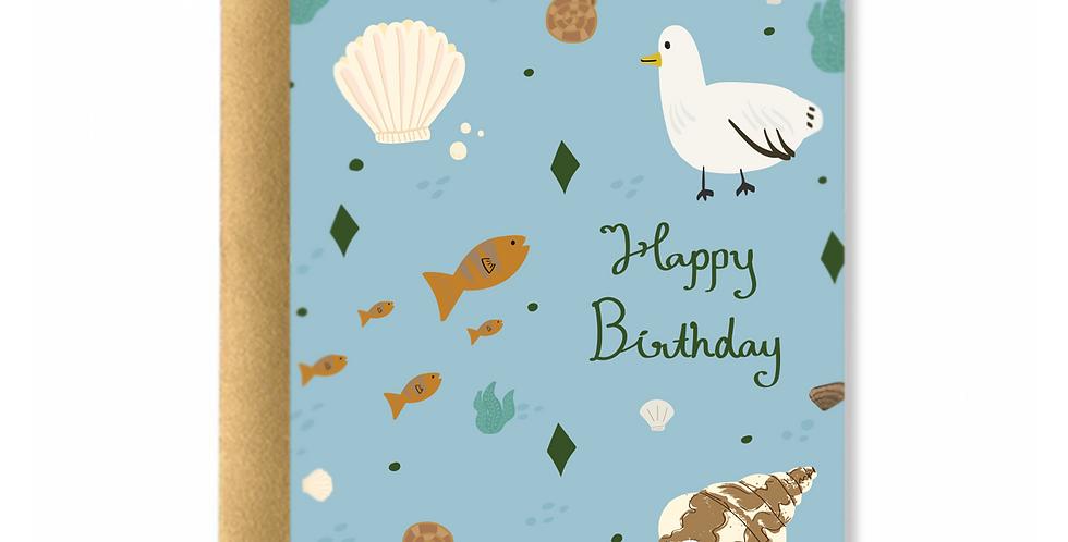 Sea Elements Birthday Greeting Card