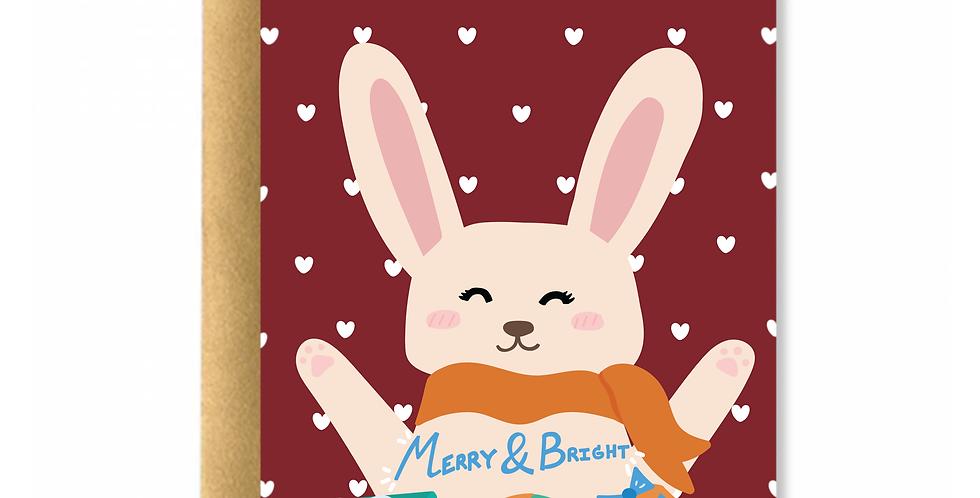 Bright Rabbit Christmas Greeting Card