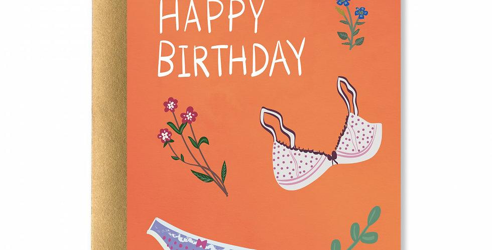 Lingerie Happy Birthday Card