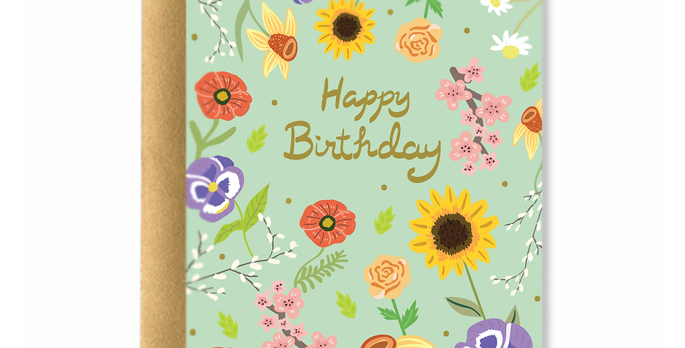 Spring Flowers Birthday Greeting Card