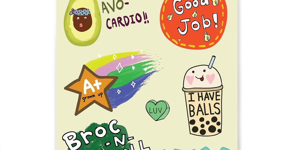 Get Healthy Stickers Set