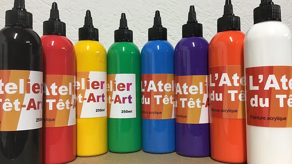 Peinture acrylique 9 bouteilles de 250ml