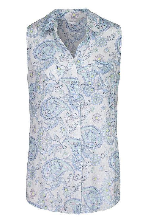 Sleeveless Button Front Shirt