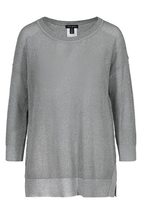 3/4 Sleeve Lurex Sweater