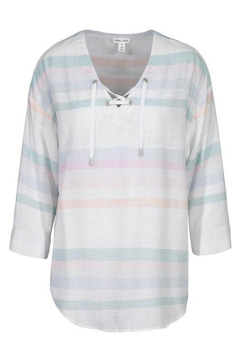 3/4 Sleeve Drop Shoulder Blouse w/ Lace up
