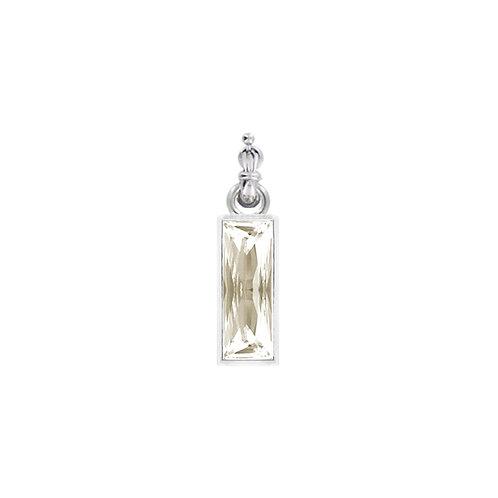 Myka Bright Rhodium Large Princess Baguette Detachable Pendant