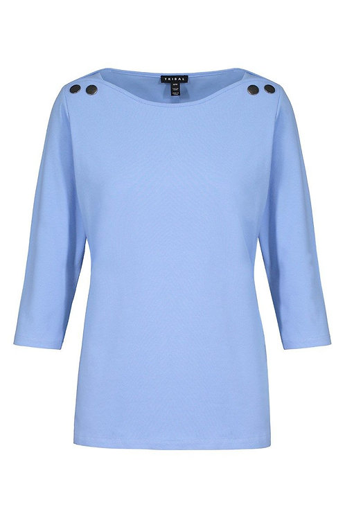 3/4 Sleeve Boat Neck Top