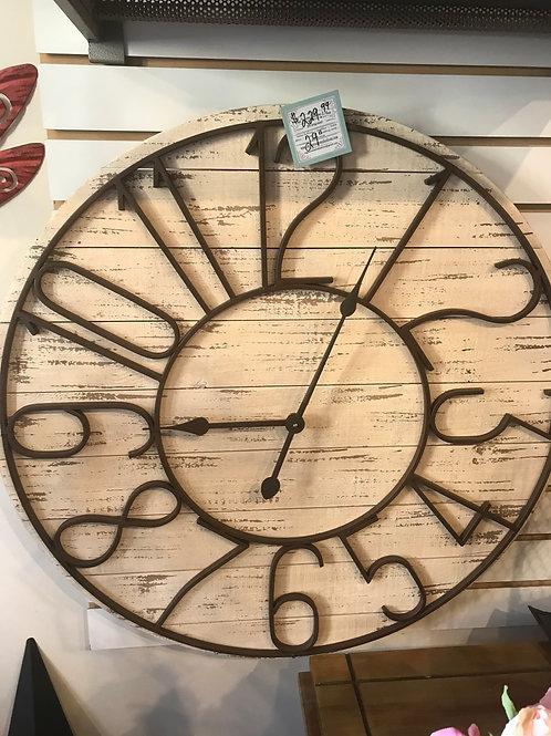 "Antiqued Wood and Metal Clock 29"""