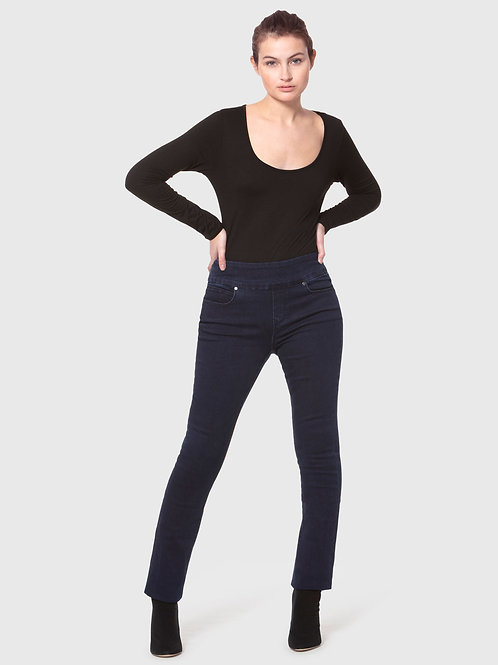 REBECCAH-MTB Midnight Blue High Rise Pull On Straight Jeans