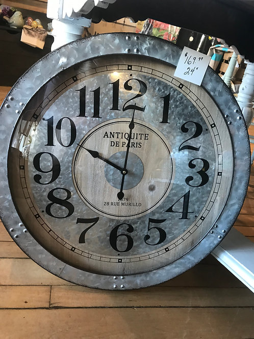 Metal & Glass Clock 24""