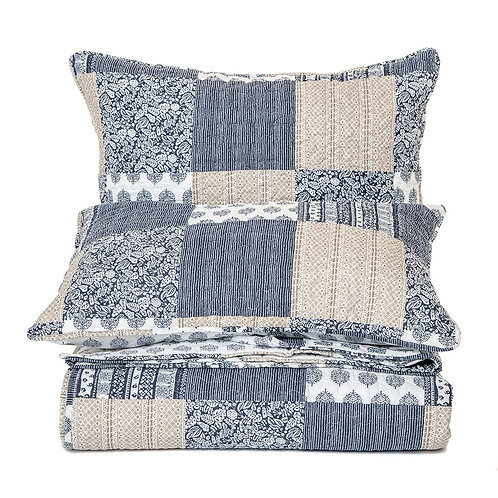 REMI NAVY AND BEIGE QUILT SET