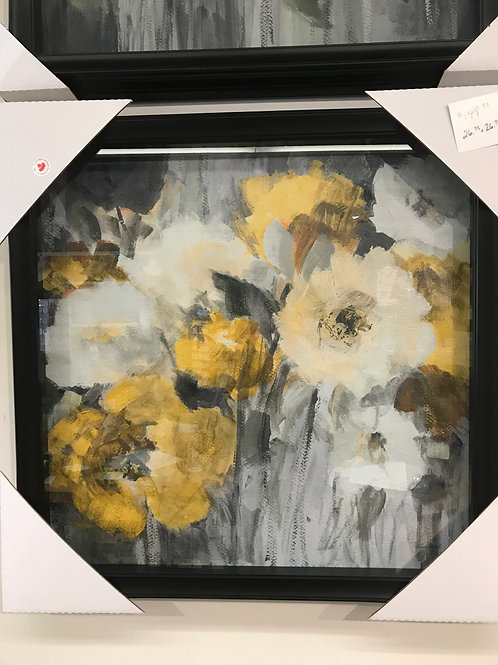 """Framed Floral Print with Glass 27""""x27"""""""