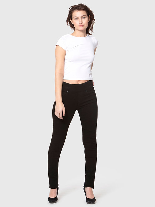 REBECCAH-BLK High Rise Pull On Straight Jeans