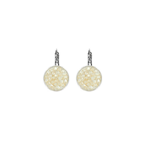 Myka Small Round Crystal Rock Euroback Earrings