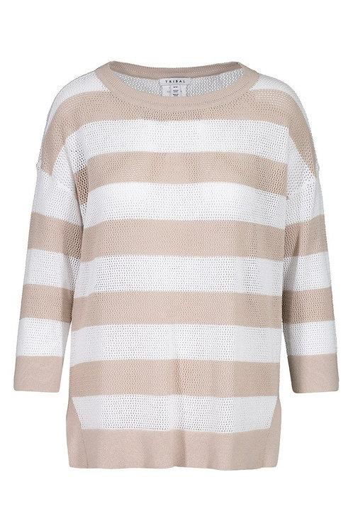 Linen Striped 3/4 Sleeve Sweater