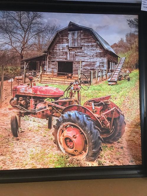 Framed Print Tractor & Barn