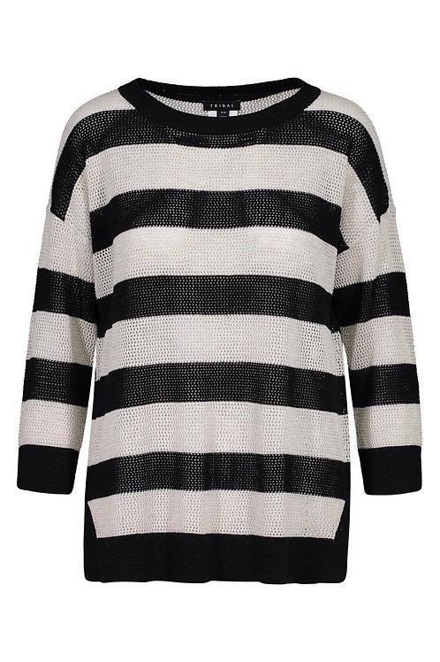 Navy Stripe 3/4 Sleeve Sweeter