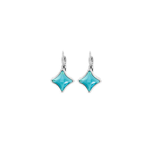 Myka Light Turquoise Bright Rhodium Starlet Euroback Earrings