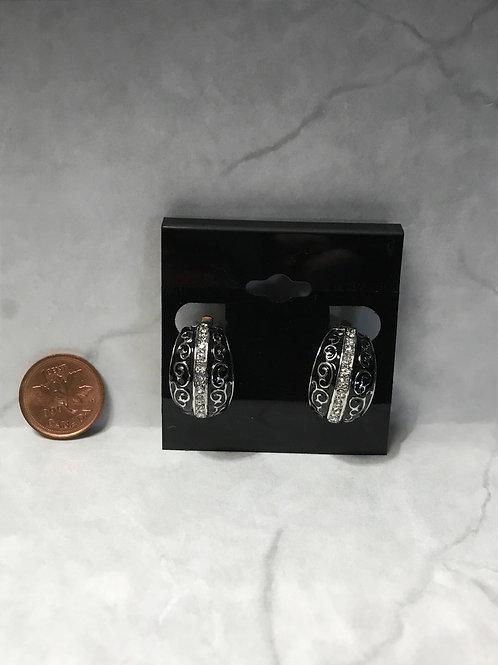 Crystal stone/black swirl Clip Earrings