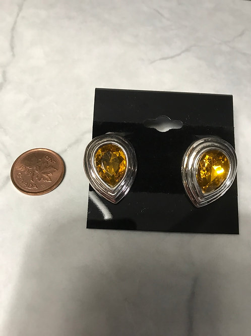 Clip on earrings- yellow stone/ silver trim