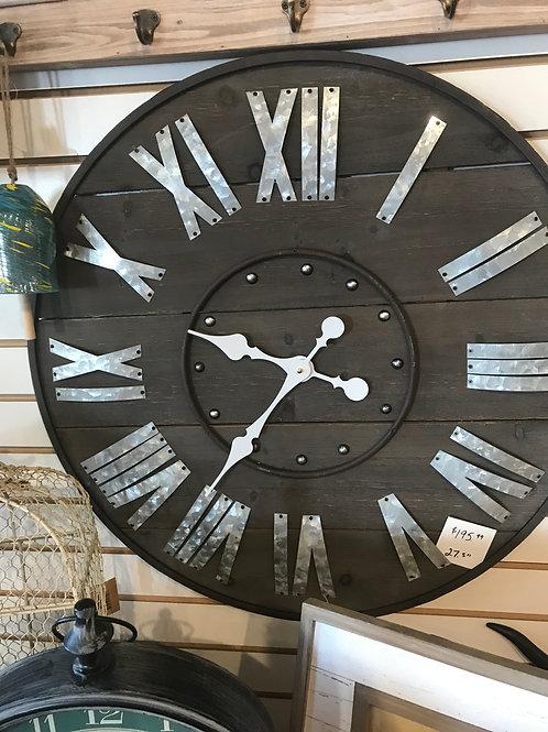 """Rustic Wood & Metal Clock 27.5"""""""