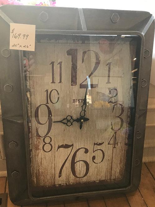 """Rustic Metal Clock 20""""x26"""""""
