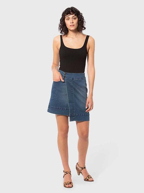 BRODY-RB Royal Blue High Rise Asymmetrical Skirt