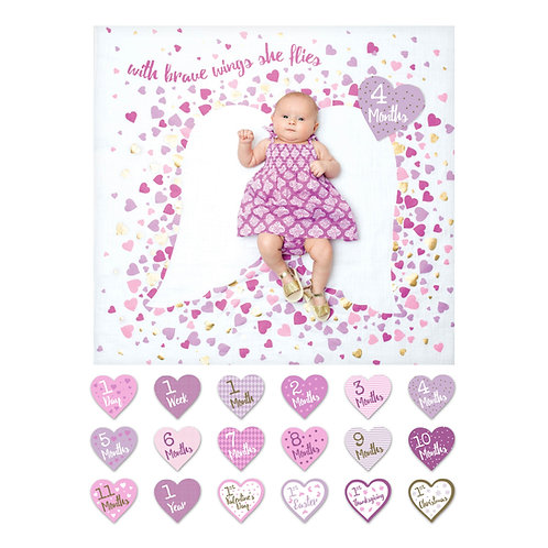 Baby's First Year Milestone Cards and Blanket Set Deluxe Baby's 1st Year
