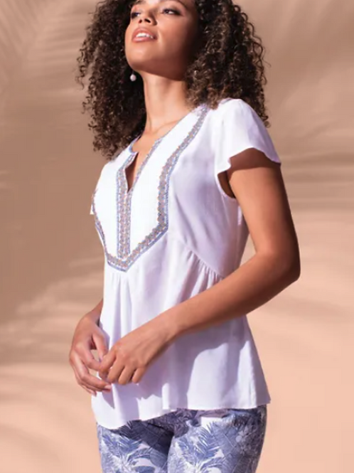 Cap Sleeve Blouse w/Embroidery