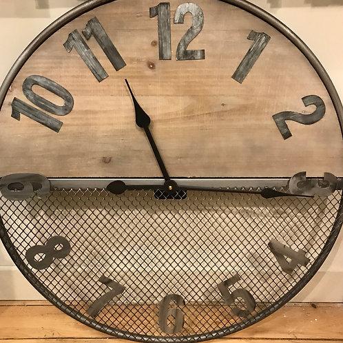 Wood Wire Mesh Clock