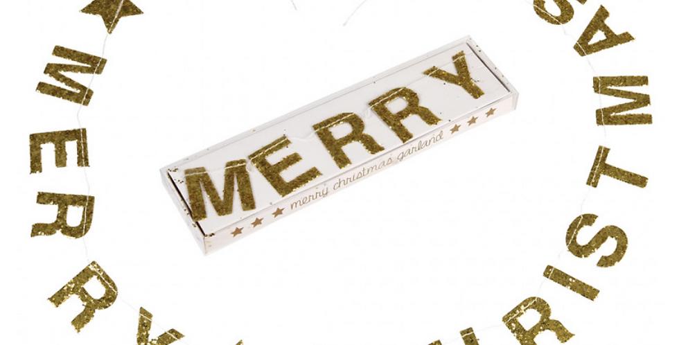 GLITTER GARLAND MERRY CHRISTMAS GOLD