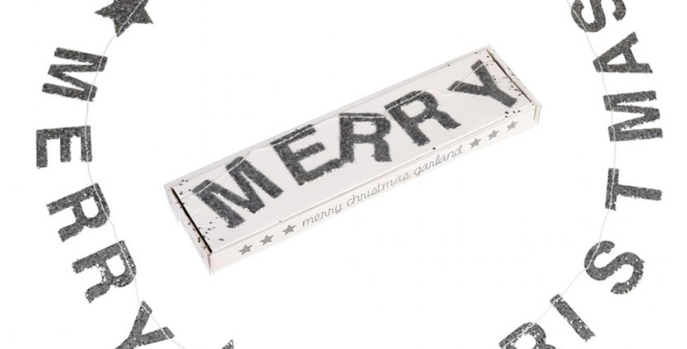 GLITTER GARLAND MERRY CHRISTMAS SILVER