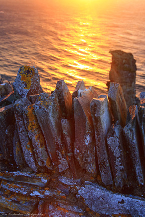Slivers of stone at sunset, Tintagel