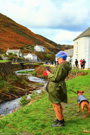 Colorful woman and dog, Boscastle