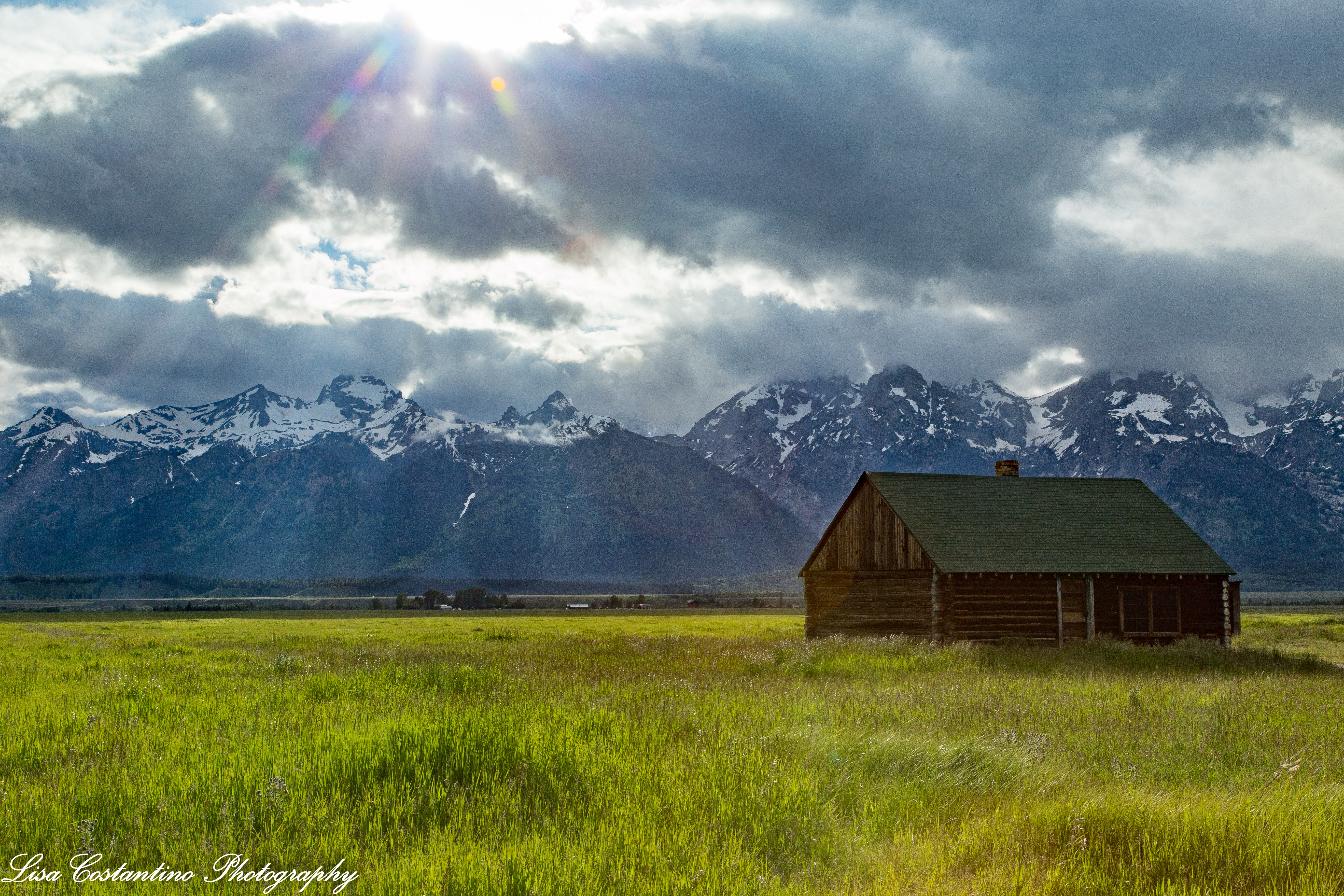 Mormon barn with sun flare