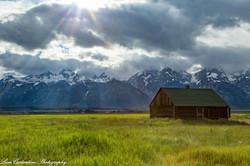 Mormon barn with sun flare