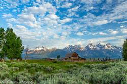 Mormon barn under morning sky