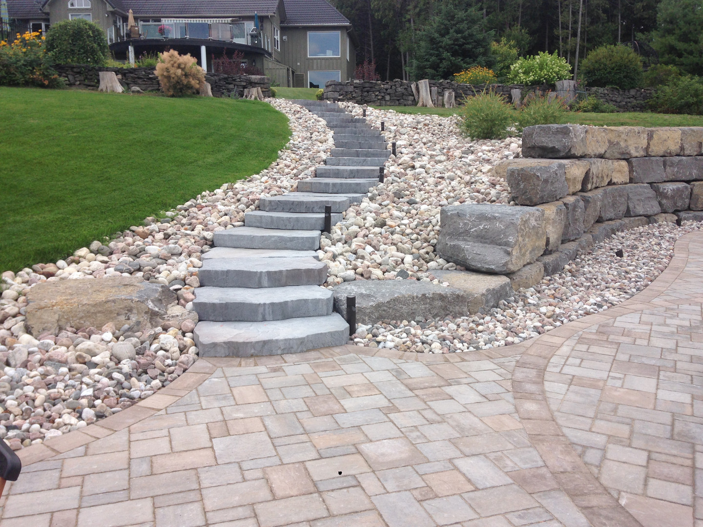 Armour stone wall, Stone steps, Rock garden