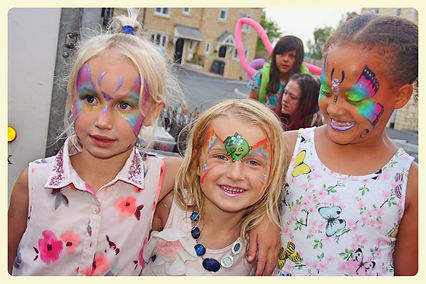 Facepainted girls at a party