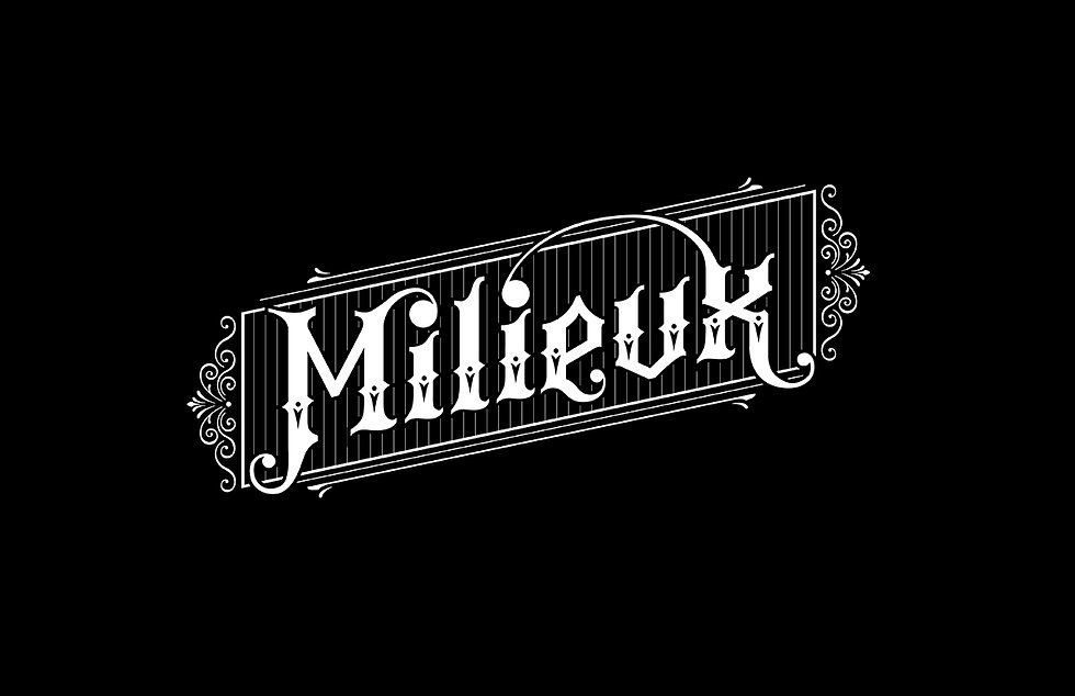 """The word """"Milieux"""" styled in blackletter-like lettering, with added embellishments and decorations around it. White on black background"""