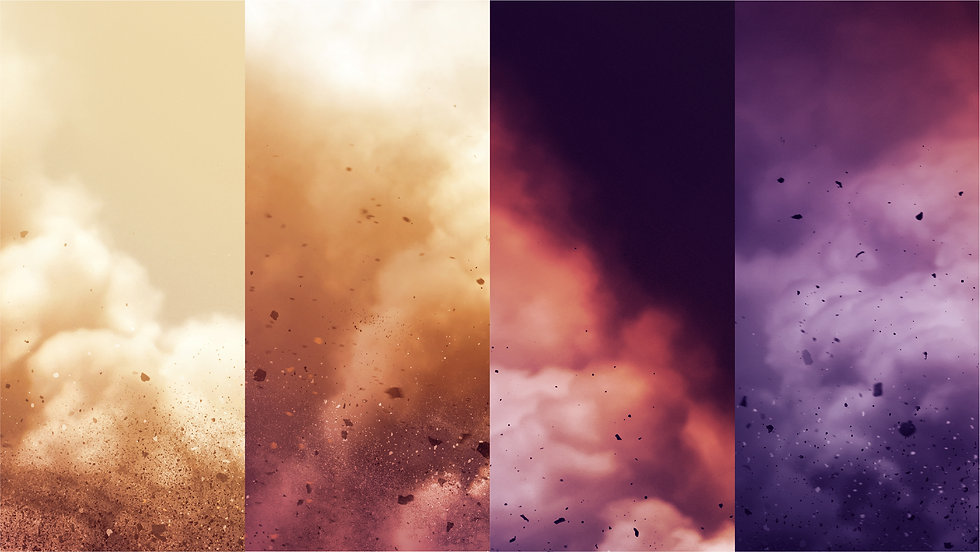 4 columns showing clouds and dust in different color themes, from light to dark.